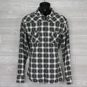 Lucky Brand Western Style Shirt Black White Sz XL